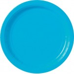 8 x Light Blue Party Round Plates 23cm
